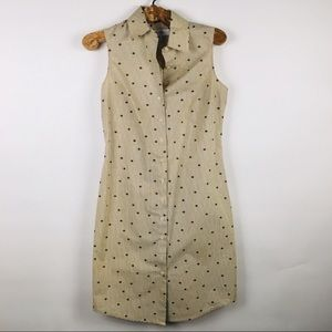 Isaac Mizrahi Sleeveless Shirt Dress Tan XS